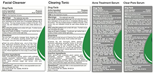Basic Acne Treatment Kit by Exposed Skin Care: For all skin types, 60 day supply (Cleanser, Toner, Dual Treatment Serums)