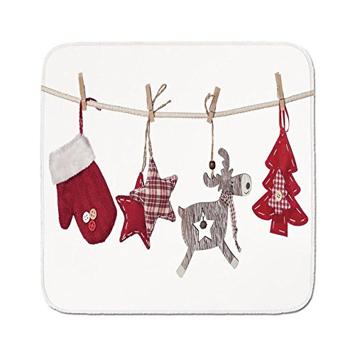 Cozy Seat Protector Pads Cushion Area Rug,Christmas,Traditional Xmas Celebration Items Hanging from Rope with Clothespins Retro,Red Cream Tan,Easy to Use on Any Surface