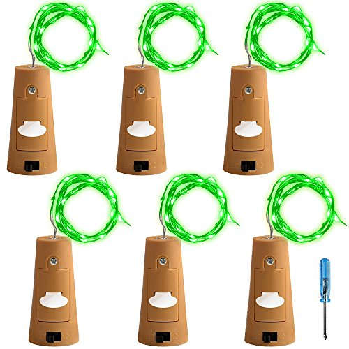 AFUNTA 6 Pcs Cork Lights Screwdriver, Bottle Lights Fairy String LED Lights, 30 inches Copper Wire 15 LED Bulbs Suitable Party Wedding Concert Festival Christmas Tree Decoration -Green