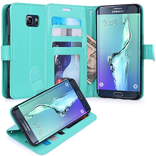 S6 Edge Plus Case, LK S6 Edge Plus Wallet Case, Luxury PU Leather Case Flip Cover Built-in Card Slots & Stand For Samsung Galaxy S6 Edge+ (Mint)