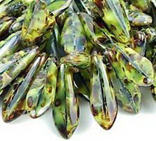 Glamorise Beads #13053 16mm Dagger Jade Swirl Piscasso Czech Glass Beads 25