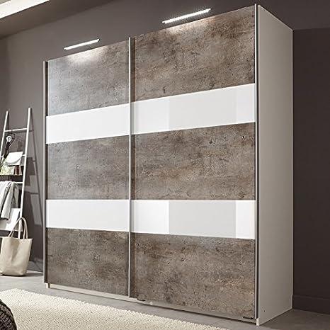 Armario de puertas correderas 135/180 cm CHERS166 hormigón de colour, Colour, cristal blanco: Amazon.es: Hogar