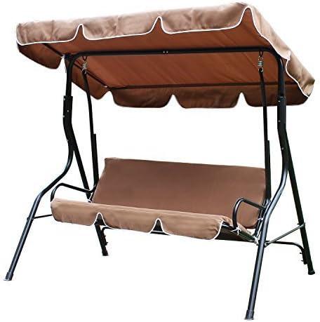ELEGAN 2 Person Patio Swing Outdoor Canopy Awning Yard Furniture Hammock Steel Coffee
