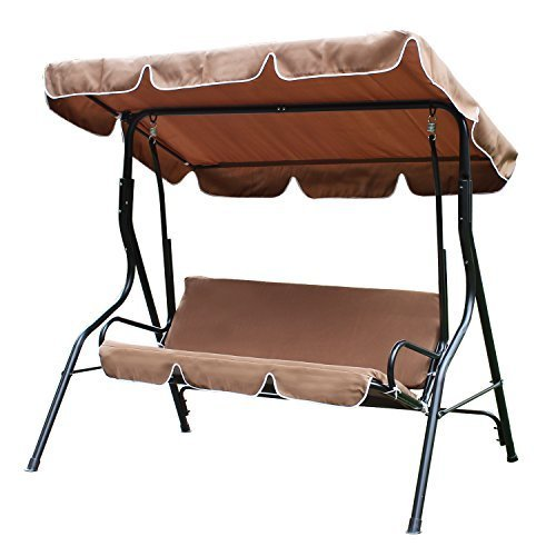 ELEGAN 2 Person Patio Swing Outdoor Canopy Awning Yard Furniture Hammock Steel Coffee