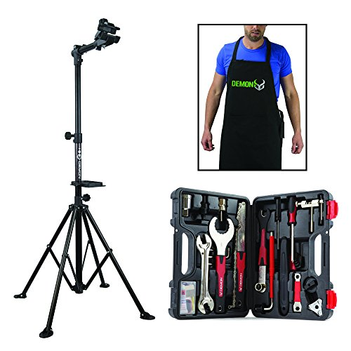 Demon Bicycle Repair Stand, Gravity Bike Tool Mechanic Kit, Bike Shop Apron -The Ultimate Home Bike Repair Combo Pack (Stand Rods Star)