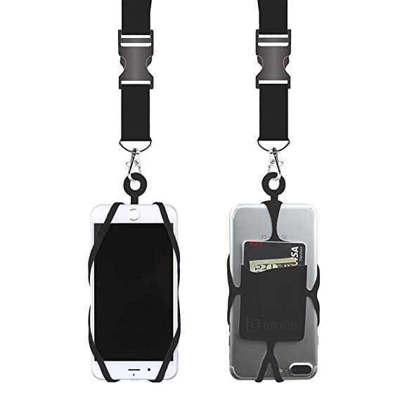 brand new 90fd3 c2553 Gear Beast Universal Cell Phone Lanyard Compatible with iPhone, Galaxy &  Most Smartphones Includes Phone Case Holder with Card Pocket,Soft Neck  Strap ...
