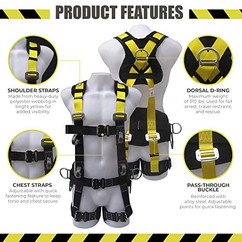Commando Fall Protect Full-Body Safety Harness with Lanyard (ANSI and OSHA Compliant) by commando (Image #1)