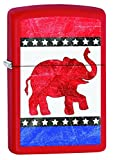 Classic Zippo Red Matte finish lighter is ideal for any presidential election year, and anything goes! The Republican Party Elephant is placed on a vibrant Red matte finish, this lighter demands to stand up and be counted among the top new lighters f...