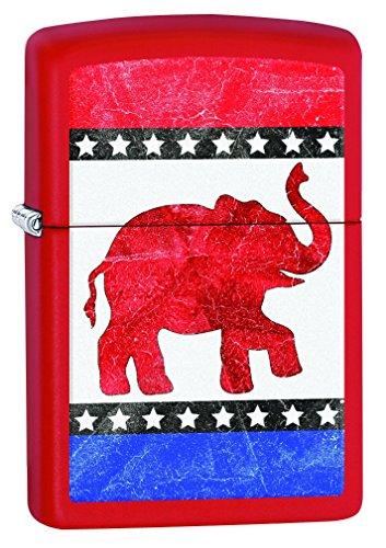 Zippo Republican Elephant Pocket Lighter, Red Matte