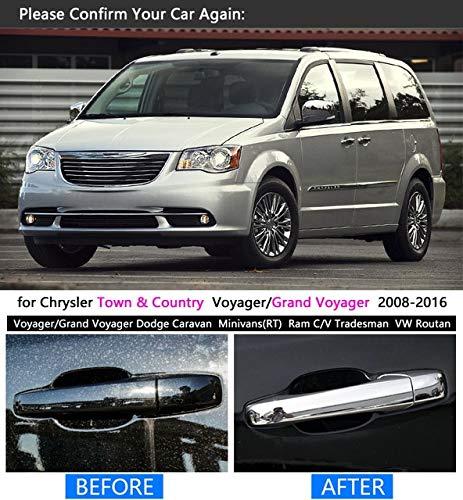 BEESCLOVER - Juego de embellecedores cromados para manija de vehículo para Chrysler Town & Country 2008-2016, para Voyager Dodge Caravan VW Routan Ram C/V ...