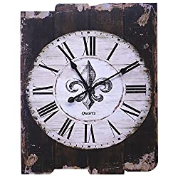 Lulu Decor, French Country Style Rustic Round Wood Wall Clock 23.50 (LH36)