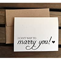 I can't wait to MARRY YOU - WEDDING Day Card - Speckled Cream Note Card - Kraft Brown - RUSTIC - Recycled - Eco Friendly