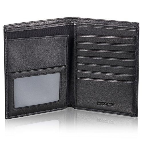 HISCOW Classy Bifold Passport Wallet with 8 Credit Card Slots - Italian Calfskin -