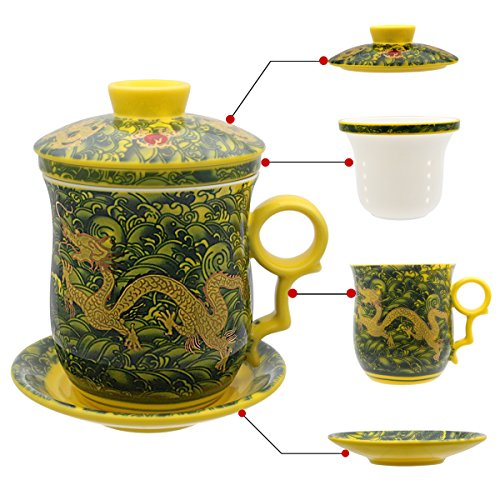 (Tea Talent Porcelain Tea Cup with Infuser Lid and Saucer Sets - Chinese Jingdezhen Ceramics Coffee Mug Teacup Loose Leaf Tea Brewing System for Home Office)