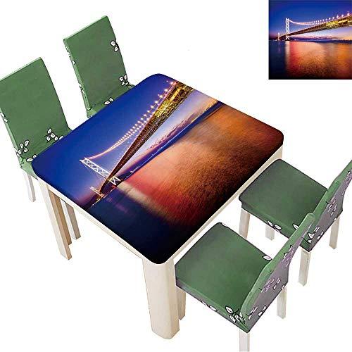 (Indoor and Outdoor Tablecloth Kobe,Japan at The Akashi Kaikyo Ohashi Bridge Spanning The Seto Inland Sea. Liquid Spills Bead up 23 x 23 Inch (Elastic Edge))