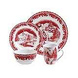 Gibson Elite Winter Cottage 16-Piece Dinnerware Set, Red