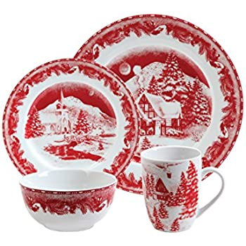 Gibson Elite Winter Cottage 16-Piece Porcelain Dinnerware Set Red  sc 1 st  Amazon.com : gibson plate set - pezcame.com