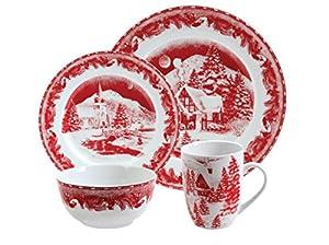 Gibson Elite Winter Cottage 16 Piece Porcelain Dinnerware Set, Red