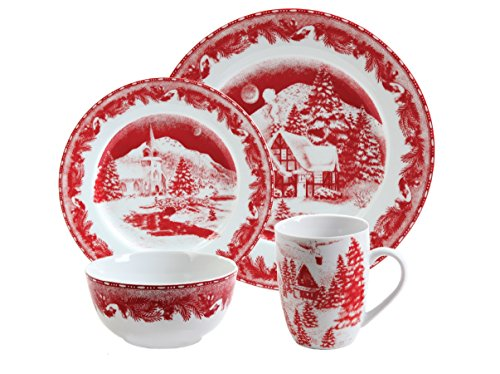 Gibson Elite Winter Cottage 16-Piece Porcelain Dinnerware Set, Red