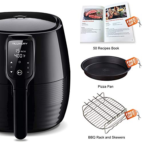 Air Fryer XL, 5.8Qt Electric Hot Airfryer Oven Oilless Cooker with Detachable Nonstick Basket, LCD Touch Screen, Timer Temperature Control, Dishwasher Safe, Auto Shut Off, W/50 Recipes, 1400W by US PIEDLE (Image #5)