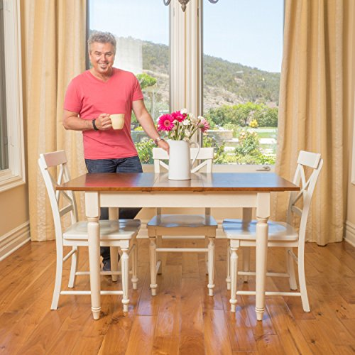 Clearwater Multi-Colored Wood Dining Table (ONLY) with Leaf Extension (With Leaf Table Butterfly Round Kitchen)