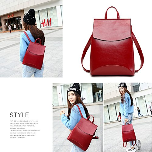 BookBag Soft Shoulder Bag Black for Backpack Vintage Campus Women Yoome Leather qwI0B54