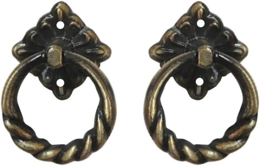 SUPVOX 6pcs Door Knob Vintage Brass Cabinet Pull Metal Drawer Ring Pull Handles Knobs for Dresser Furniture Cupboard Door