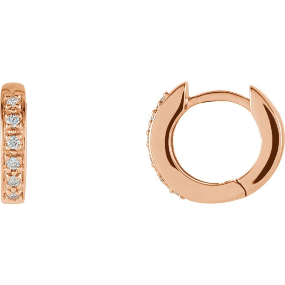 14K Rose 1//10 CTW Diamond Hoop Earrings