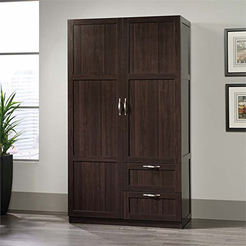 Check out this storage cabinet from Sauder Select collection. It features a  garment rod and fixed shelf behind the full length door, ...