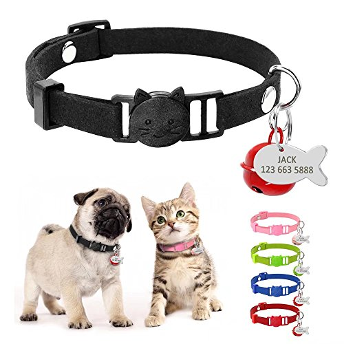 Didog Kitten Cat Breakaway Collars with Fish Shaped ID tags and Bells,Suede Leather Cat Collar Charms,8-11.5