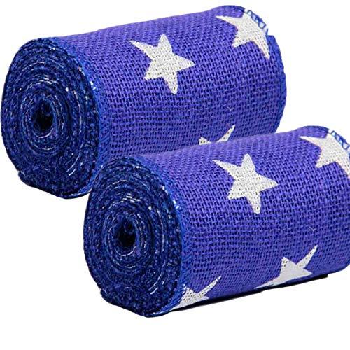 AAYU 2 roll Pack- 5 Star Printed Burlap Ribbon Blue 5inch Wide x 15 feet,Patriotic Decorations, Door Wreath, Rustic Weddings wreathing Crafting Supplies (Navy Blue, 5 inch) Total 10 Yards