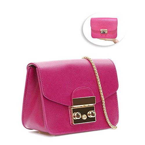 ELCM Women's PU Leather Handbags Fashion Small Chain Shoulder Strap Bag Quilted Crossbody Bags(Rose -