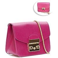 ELCM Leather Chain Shoulder Bag (Rose Red)