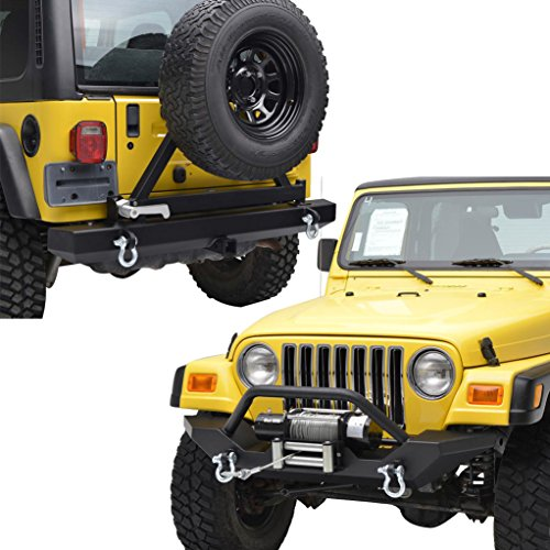 E-Autogrilles 97-06 Jeep Wrangler TJ Off Road Front Bumper With Winch Plate and Rear Bumper with Tire Carrier Combo (51-0034+51-0009)