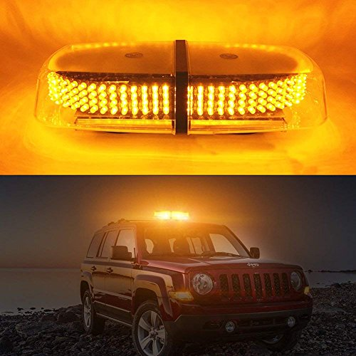 Ralbay Amber 240 LED Law Truck Car Enforcement Emergency Hazard Beacon Warning Police LED Mini Bar Snow Plow Safety Flash Strobe Light Roof Top Mount with Magnetic Base DC 12V