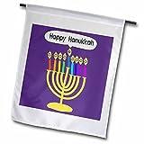 3dRose fl_112818_2″Purple Happy Hanukkah Smiley Menorah – Cute Channukia Cartoon Garden Flag, 18 x 27