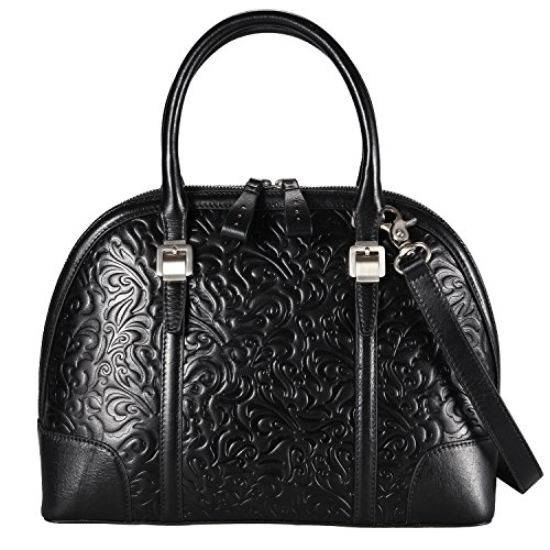 Banuce Black Real Leather Handbags for Women Embossed Pattern Business Tote Purse Shoulder Messenger Bag