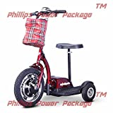 E-Wheels - EW-18 Stand & Ride Scooter - 3-Wheel - Red - PHILLIPS POWER PACKAGE TM - TO $500 VALUE