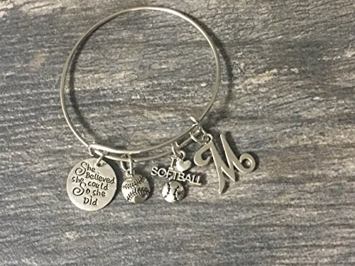 Softball Bracelet- She Believed She Could So She Did Girls Softball Jewelry -Gift for Softball Player, Team and Coaches Gifts