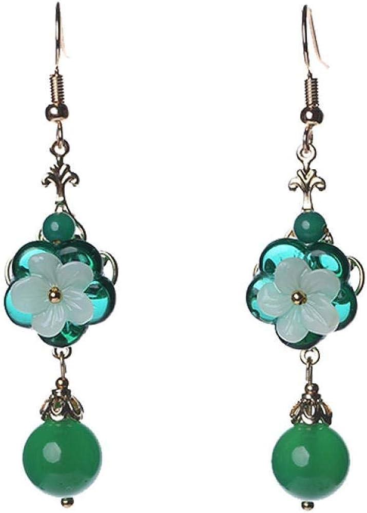 Pendientes Pendientes vintage pendientes de estilo antiguo femenino pendientes de temperamento pendientes de ágata verde joyería de clip de oreja larga