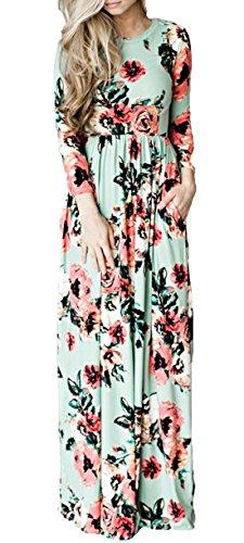 Femme Robe de Plage Casual Fleurie Robes de Maxi Et Ronde Col Manches Courtes Robes de Cocktail Fte Soire Vert
