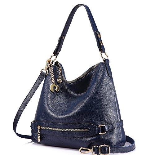 Large Bucket Shoulder Handbag Bag (Genuine Leather Handbags for Women Large Designer Ladies Shoulder Bag Bucket Style [Navy ])