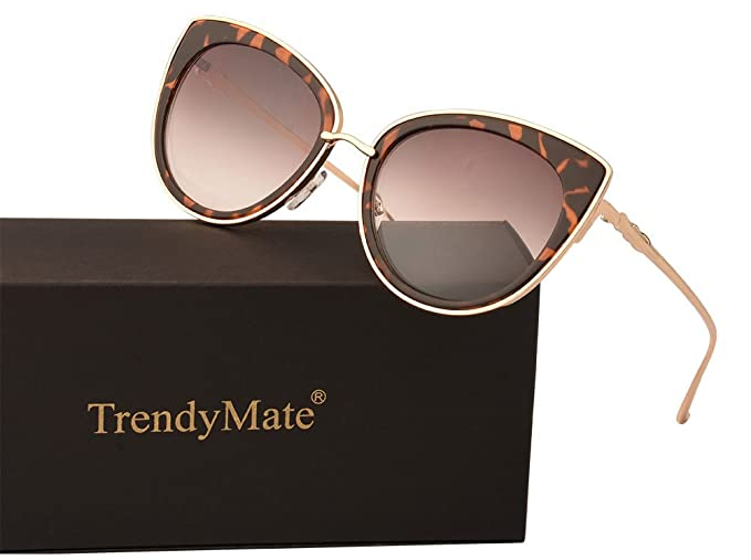 e91dd3531ce7 TrendyMate Women Metal Cute Cat Eye Sunglasses Mirror Lens Coating Sunglasses  Fashion Eyewear (Leopard,