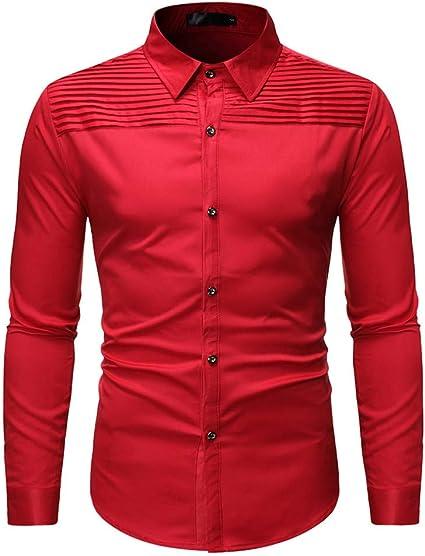 Heetey - Camisa para Hombre de Manga Larga, con Volantes, con Estampado, para Personalidad, Plisada, con Cuello Redondo: Amazon.es: Ropa y accesorios