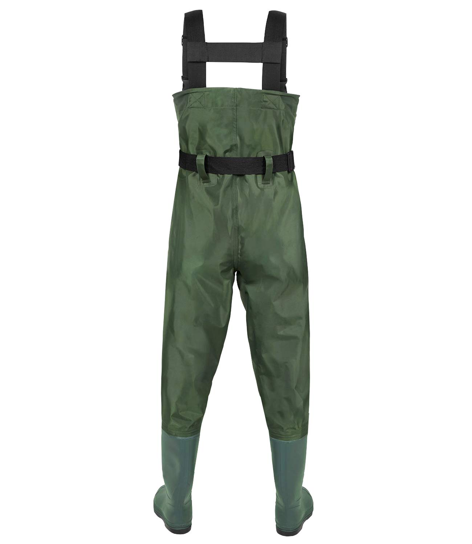 LANGXUN Hip Waders Kids, Lightweight Breathable PVC Fishing Waders Children, Waterproof Bootfoot Waders Boy Girl, Army Green Chest Waders Kids