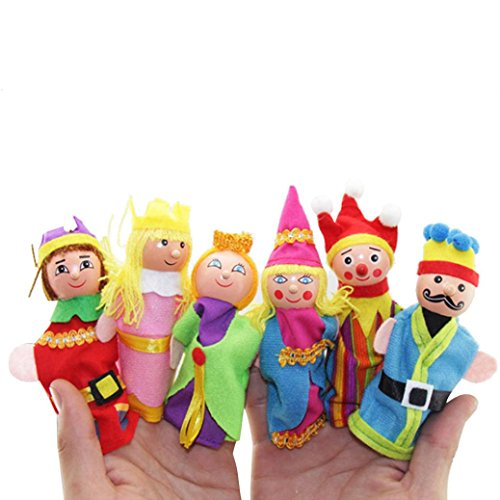 Finger Puppets Royal (E-SCENERY 6pcs Cartoon Wooden Finger Puppets Royal Family Plush Dolls Props Toys Early Education Toys Christmas Gift)