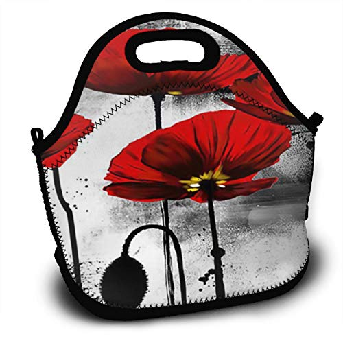 Line Of Poppies Wall Art Red Lightweight Insulated Thermal Lunch Tote Bag Reusable Lunchbox Bag With Zipper Pocket & Strap For Adults Men Women Kids Boys Nurses Teens