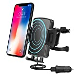 Fast Wireless Car Charger, QIVV QI Fast 10W Charging Vehicle Mount with Air Vent Phone Holder for Samsung Galaxy S9/S9 Plus, S8/S8 Plus, S7,S7 Edge/S6 Edge Plus, Note 8/5, 7.5W for iPhone X, 8/8 Plus