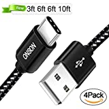 USB Type C Cable, ONSON 4Pack 3FT 6FT 6FT 10FT Nylon Braided USB A to USB C Charger Cable Fast Charging Cord for Samsung Galaxy Note 8 S8 Plus, LG G5 G6 V30, HTC 10, Nexus 5X/6P,Google Pixel XL(Black)