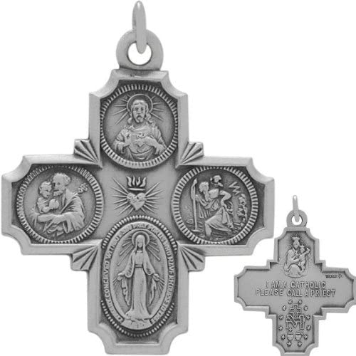 Sterling Silver Religious Large Saint Cross with chain